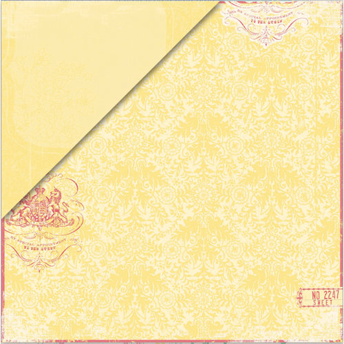 Deja Views - C-Thru - Little Yellow Bicycle - Clothesline Collection - 12 x 12 Double Sided Paper - Canary Damask, CLEARANCE