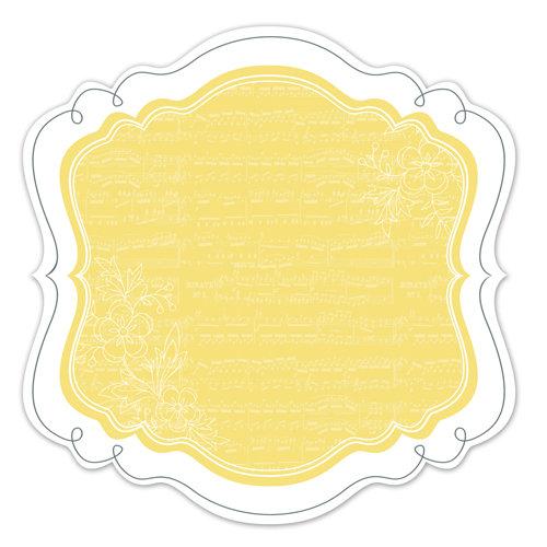 Deja Views - C-Thru - Little Yellow Bicycle - Elizabeth Park Collection - 12 x 12 Decorative Edge Paper with Varnish Accents