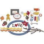 Little Yellow Bicycle - Feels Like Home Collection - Chipboard Shapes with Varnish Accents