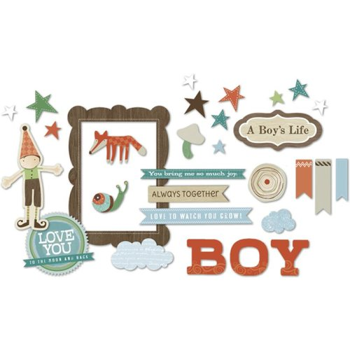 Little Yellow Bicycle - Fern and Forest Boy Collection - Chipboard Shapes with Varnish Accents