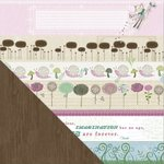 Little Yellow Bicycle - Fern and Forest Girl Collection - 12 x 12 Double Sided Paper - Blooming Bands