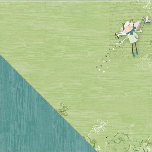 Little Yellow Bicycle - Fern and Forest Girl Collection - 12 x 12 Double Sided Paper - Fairy Flight
