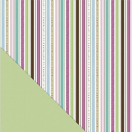 Little Yellow Bicycle - Fern and Forest Girl Collection - 12 x 12 Double Sided Paper - Twinkling Stripe