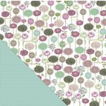 Little Yellow Bicycle - Fern and Forest Girl Collection - 12 x 12 Double Sided Paper - Field of Flowers