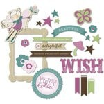 Little Yellow Bicycle - Fern and Forest Girl Collection - Chipboard Shapes with Glitter Accents