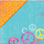 Deja Views - C-Thru - Little Yellow Bicycle - Free Spirit Collection - 12 x 12 Double Sided Paper - Peace Out