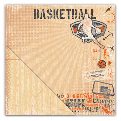 Deja Views - C-Thru - Little Yellow Bicycle - Get Your Game One Collection - 12 x 12 Double Sided Textured Paper - Basketball Collage