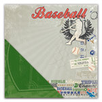 Deja Views - C-Thru - Little Yellow Bicycle - Get Your Game One Collection - 12 x 12 Double Sided Textured Paper - Baseball Collage