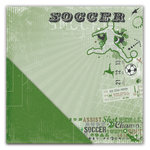 Deja Views - C-Thru - Little Yellow Bicycle - Get Your Game One Collection - 12 x 12 Double Sided Textured Paper - Soccer Collage