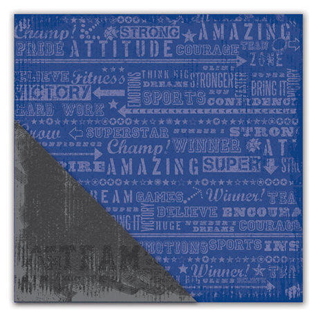 Deja Views - C-Thru - Little Yellow Bicycle - Get Your Game One Collection - 12 x 12 Double Sided Textured Paper - Game Day Words Blue
