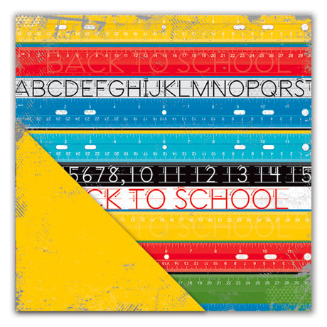 Deja Views - C-Thru - Little Yellow Bicycle - Head of the Class Collection - 12 x 12 Double Sided Textured Paper - Ruler