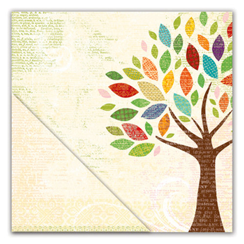 Deja Views - C-Thru - Little Yellow Bicycle - Hello Fall Collection - 12 x 12 Double Sided Paper - Autumn Tree