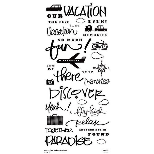 Little Yellow Bicycle - Clear Word Stickers - Vacation