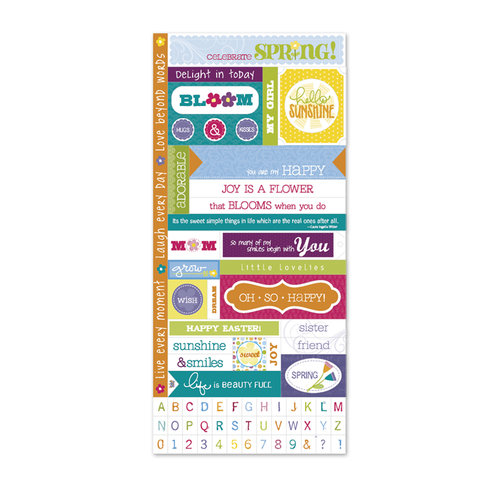 Deja Views - C-Thru - Little Yellow Bicycle - Hello Spring Collection - Cardstock Stickers with Debossed and Glitter Accents - Fresh Verse