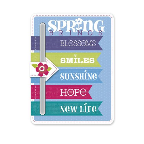 Deja Views - C-Thru - Little Yellow Bicycle - Hello Spring Collection - Chipboard Slider with Glitter Accents