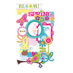 Deja Views - C-Thru - Little Yellow Bicycle - Hello Spring Collection - Chipboard Shapes with Glitter Accents