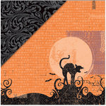 Deja Views - C-Thru - Little Yellow Bicycle - Frightful Collection - Halloween - 12 x 12 Double Sided Glitter Paper - Black Cat, CLEARANCE