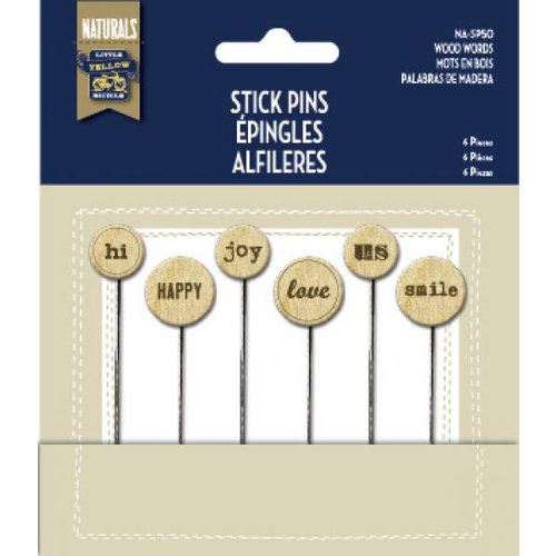 Little Yellow Bicycle - Naturals Collection - Stick Pins - Wood Words