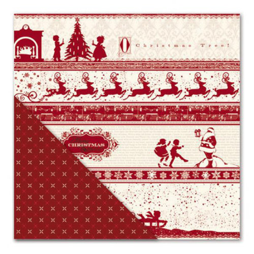 Little Yellow Bicycle - Once Upon a Christmas Collection - 12 x 12 Double Sided Paper - Vintage Bands