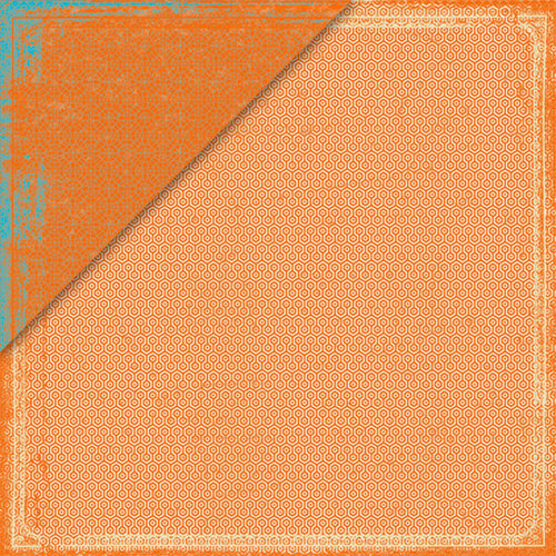 Deja Views - C Thru - Little Yellow Bicycle - Pack Your Bags Collection - 12 x 12 Double Sided Paper - Orange Hexagon