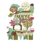 Deja Views - C-Thru - Little Yellow Bicycle - Paradise Collection - Chipboard Shapes with Glitter Accents