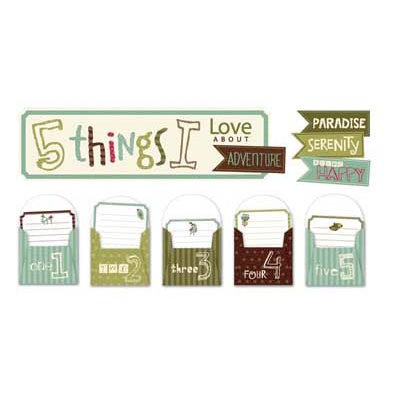 Deja Views - C-Thru - Little Yellow Bicycle - Paradise Collection - 5 Things Envelopes with Embossed Accents