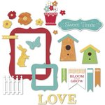 Little Yellow Bicycle - Poppy Collection - Chipboard Shapes with Glitter Accents