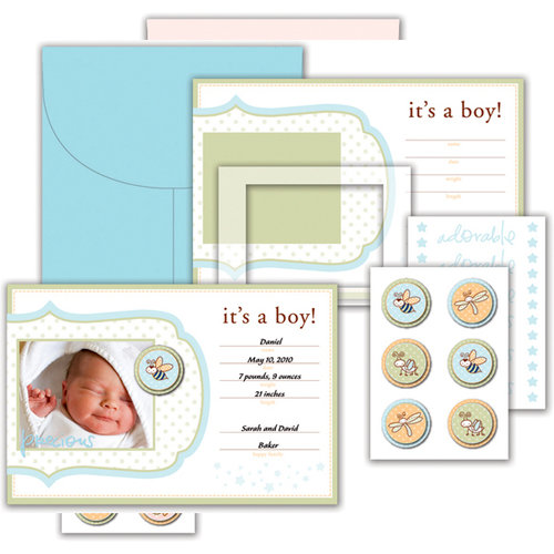 Deja Views - C-Thru - Little Yellow Bicycle - Snugglebug Collection - Announcement Kit with Varnish Accents - Baby Boy