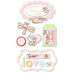 Deja Views - C-Thru - Little Yellow Bicycle - Snugglebug Collection - Chipboard Stickers with Glitter Accents - Baby Girl - Embellishments