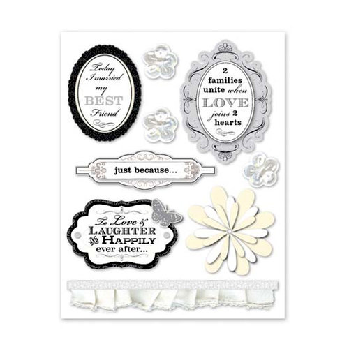 Deja Views - C-Thru - Little Yellow Bicycle - Swoon Collection - Dimensional Stickers with Foil Accents