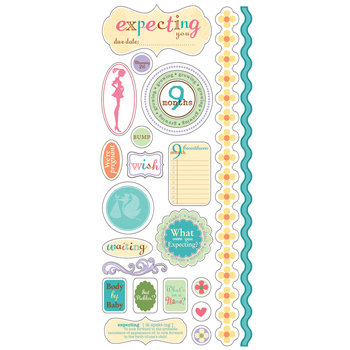 Deja Views - C-Thru - Little Yellow Bicycle - Pregnancy Collection - Clear Stickers with Glitter Accents, CLEARANCE