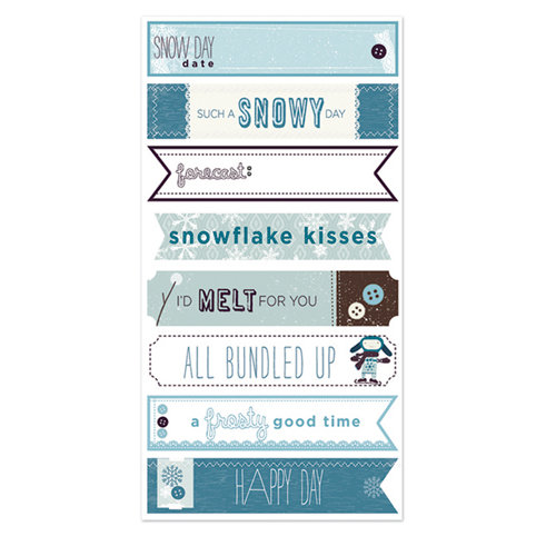 Deja Views - C-Thru - Little Yellow Bicycle - Winter Twig Collection - Cardstock Stickers with Button Accents - Labels