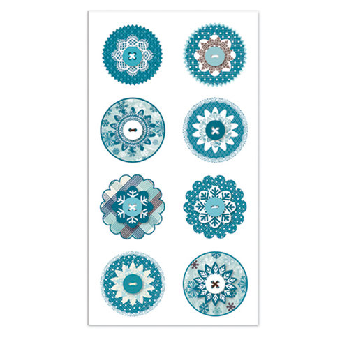 Deja Views - C-Thru - Little Yellow Bicycle - Winter Twig Collection - Layered Button Dots - Snowflakes