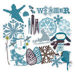 Deja Views - C-Thru - Little Yellow Bicycle - Winter Twig Collection - Chipboard Shapes with Glitter Accents