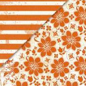 Deja Views - C-Thru - Little Yellow Bicycle - Traveler Collection - 12 x 12 Double Sided Paper - Orange Bloom