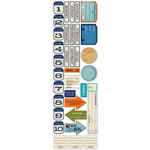Deja Views - C-Thru - Little Yellow Bicycle - Traveler Collection - Chipboard Stickers - Dates, BRAND NEW