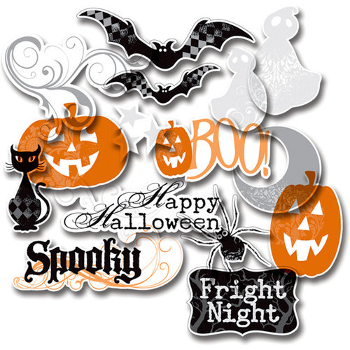 Deja Views - C-Thru - Little Yellow Bicycle - Trick or Treat Collection - Halloween - Clear Cuts - Glitter and Metallic Shapes, BRAND NEW