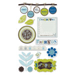 Deja Views - C-Thru - Little Yellow Bicycle - Twig Collection - Chipboard Stickers with Glitter Accents - Embellishments, CLEARANCE