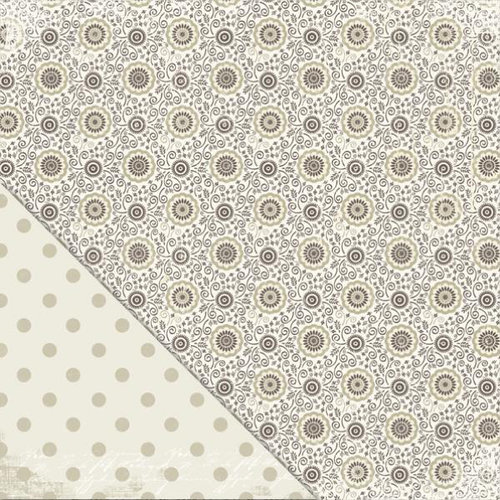 Little Yellow Bicycle - Vintage Summer Collection - 12 x 12 Double Sided Paper - Taupe Flower