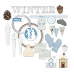 Little Yellow Bicycle - Winterings Collection - Chipboard Shapes with Foil Accents
