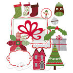 Deja Views - C-Thru - Little Yellow Bicycle - Wonder Wishes Collection - Christmas - Chipboard Shapes with Glitter Accents