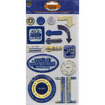 Deja Views - C-Thru - Little Yellow Bicycle - Zach's Life Collection - Self-Adhesive Chipboard Embellishments - Blue, CLEARANCE