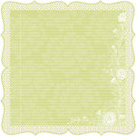 Deja Views - C-Thru - Little Yellow Bicycle - Zinnia Collection - 12 x 12 Decorative Edge Paper - Green Floral Ledger