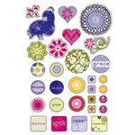Deja Views - C-Thru - Little Yellow Bicycle - Zinnia Collection - Glitter Epoxy Stickers, CLEARANCE