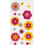 Deja Views - C-Thru - Little Yellow Bicycle - Zinnia Collection - Stickers - Layered Felt Flowers, CLEARANCE