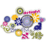 Deja Views - C-Thru - Little Yellow Bicycle - Zinnia Collection - Clear Cuts - Glitter Shapes, CLEARANCE