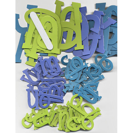 Die Cuts With A View - Chip Chatter Alphabet Kit - 152 Pieces - Small and Large Lowercase - Ocean - Lime Green, Blueberry and Aqua, BRAND NEW