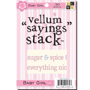 Die Cuts with a View - 4 x 6 Vellum Sayings Stacks - Baby Girl, CLEARANCE