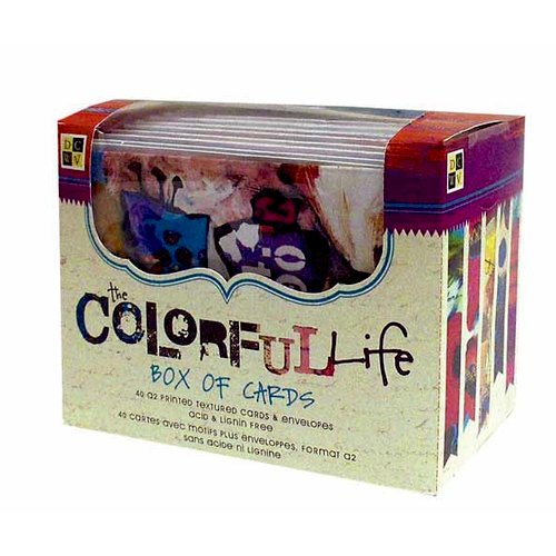 Die Cuts with a View - Box of Cards - Printed and Textured Cards and Envelopes - The Colorful Life - A2 Size