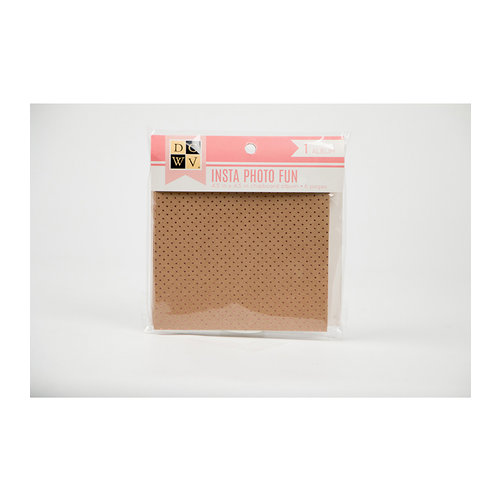 Die Cuts with a View - Insta Photo Fun Collection - 4.5 x 4.5 Chipboard Album - Kraft and Pink